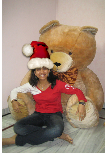 Saksham and Sanya with chrismas cap